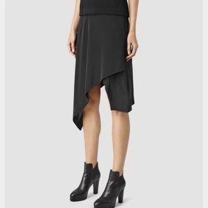 All Saints Asymmetric Cecilia Silk Mini Midi Skirt